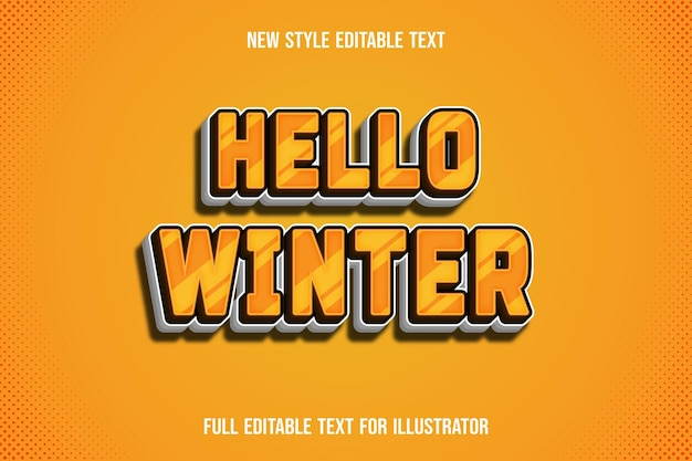 Text effect 3d hello winter color yellow and white gradient