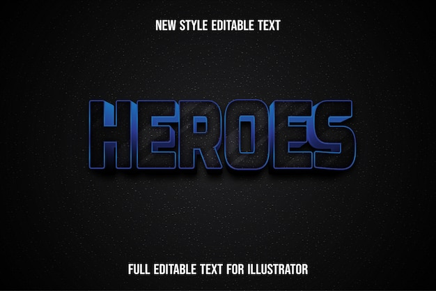 Text effect 3d heroes color black and white gradient