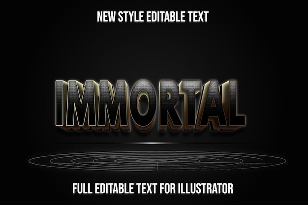 Text effect 3d immortal color black and brown gradient