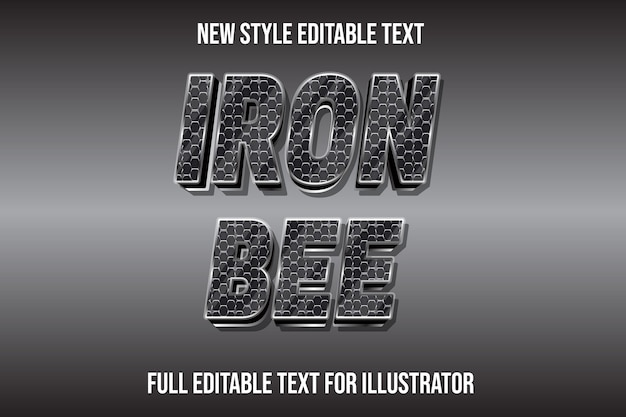 Text effect 3d iron bee color silver and black gradient