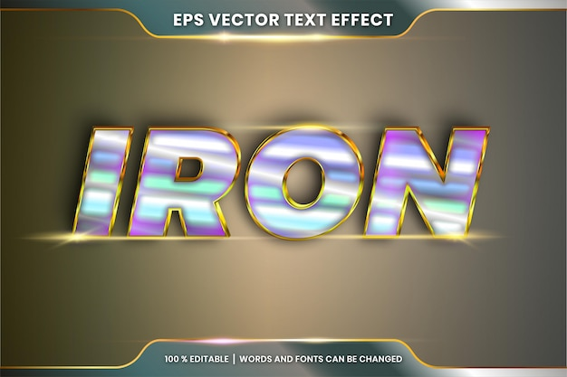 Text effect in 3d iron words font styles theme editable realistic metal silver and gold color combination concept