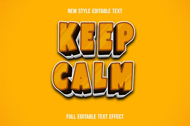 Text effect 3d keep calm color brown and white gradient