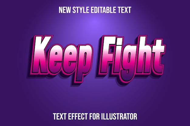 Текстовый эффект 3d держит бой цвет белый, розовый и фиолетовый градиент