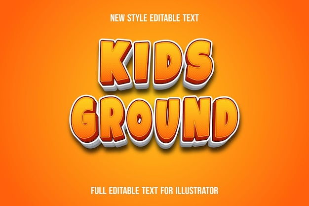 Text effect 3d kids ground color orange and white gradient