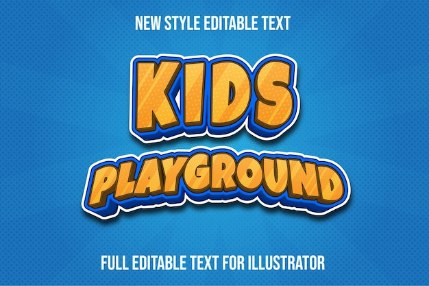 Text effect 3d kids playground color light brown and blue gradient