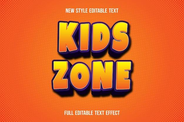 Text effect 3d kids zone color orange and purple gradient