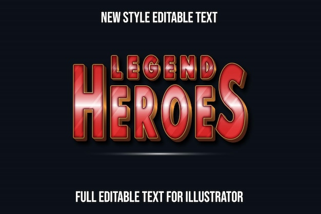 Text effect 3d legend heroes color red and brown gradient