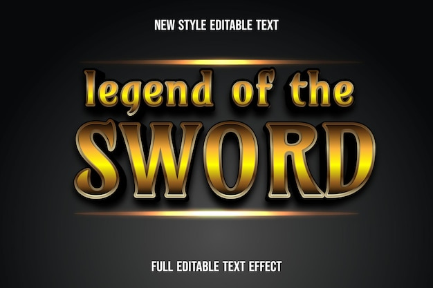 Text effect 3d legend of the sword color fold and black