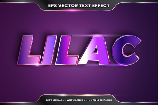 Text effect in 3d lilac words text effect theme editable realistic metal gradient purple color concept
