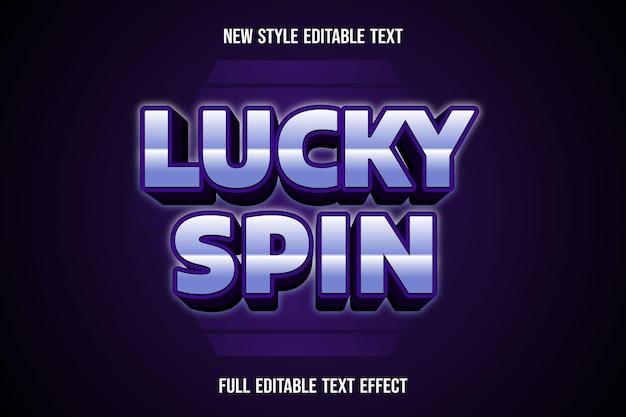Текстовый эффект 3d lucky spin цвет белый и фиолетовый градиент