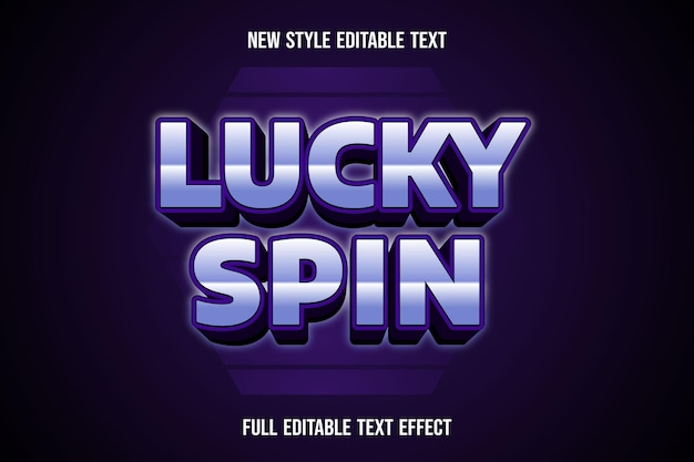 Text effect 3d lucky spin color white and purple gradient