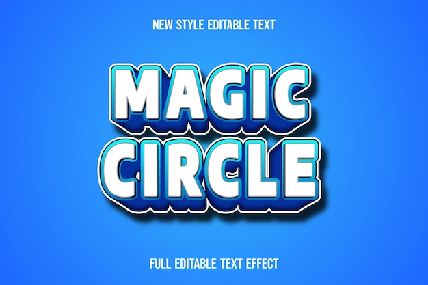 Text effect 3d magic circle color white and blue