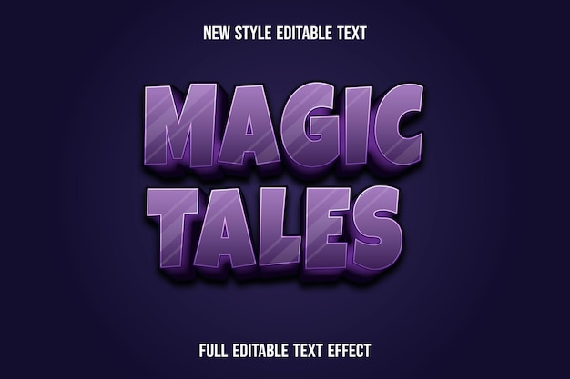 Text effect 3d magic tales color purple and black gradient
