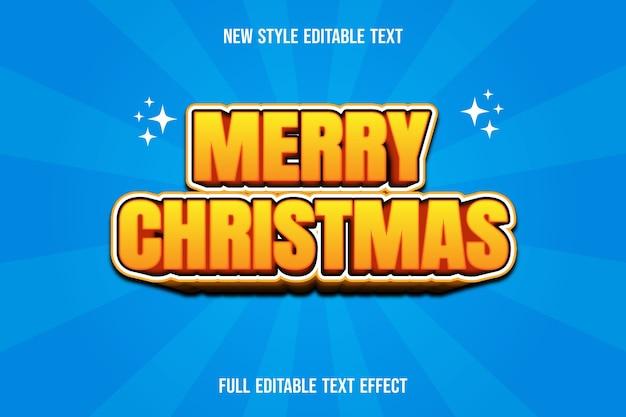 텍스트 효과 3d 메리 크리스마스 색상 노란색과 갈색 그라디언트