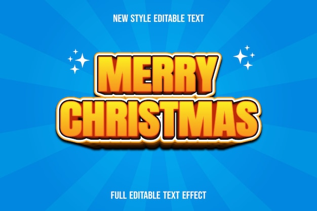 Text effect 3d merry christmas color yellow and brown gradient