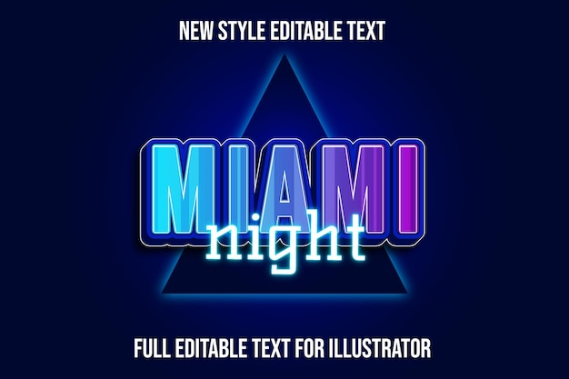 Text effect 3d miami night color blue and night gradient
