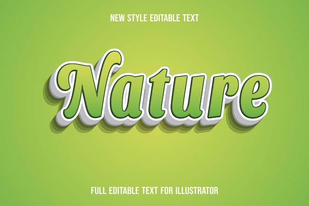 Text effect 3d nature color green and white gradient