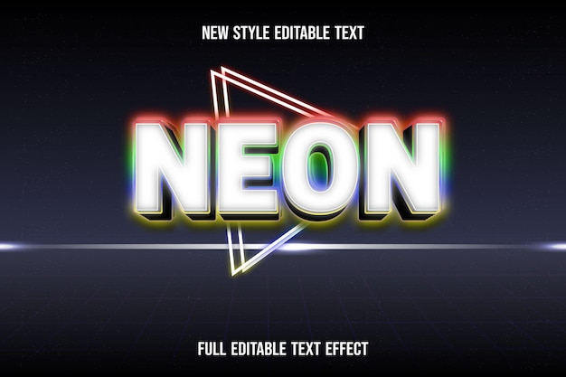 Text effect 3d neon color white and red green blue yellow gradient