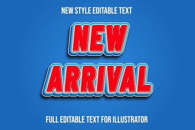 Text effect 3d new arrival color red and blue gradient