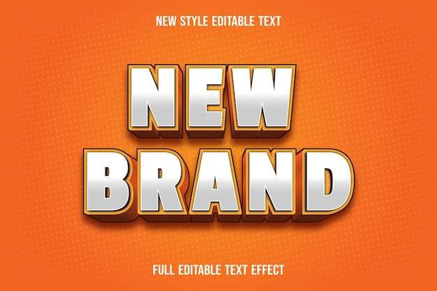 Text effect 3d new brand color white and orange
