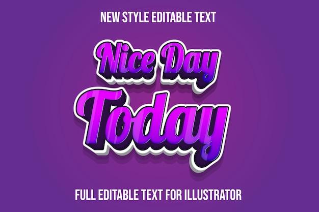 Текстовый эффект 3d хороший день сегодня цвет фиолетовый и белый градиент
