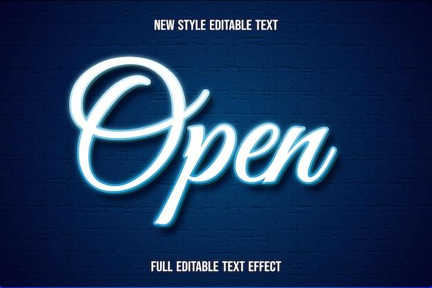 Текстовый эффект 3d открытый цвет белый и синий градиент