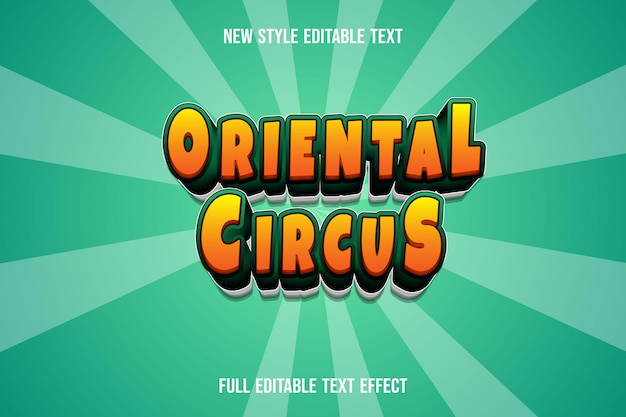Text effect 3d oriental circus color orange and green gradient