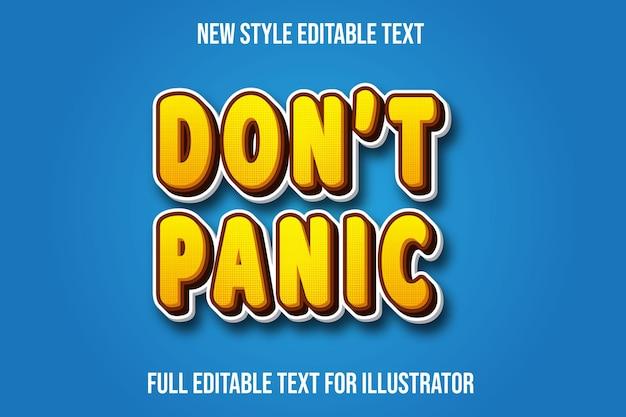 Text effect 3d don't panic message