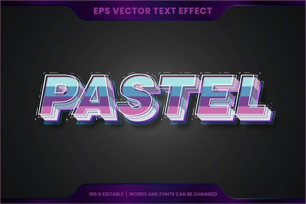 Text effect in 3d pastel words font styles theme editable colorful concept