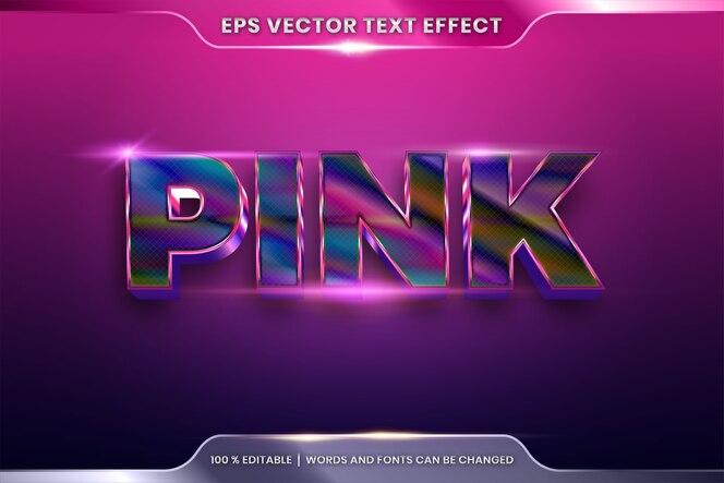 Effetto di testo in 3d parole rosa, stili di carattere, tema modificabile, combinazione di colori rosa sfumato in metallo realistico con concetto di luce bagliore