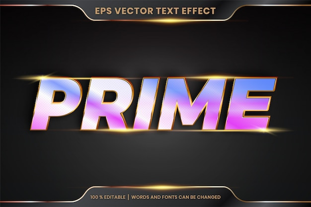 Text effect in 3d prime words text effect theme editable metal realistic gold and gradient holographic color concept