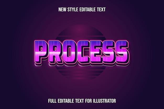 Текстовый эффект 3d процесс цвет розовый и фиолетовый градиент