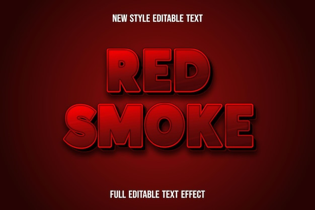 Text effect 3d red smoke color red and black