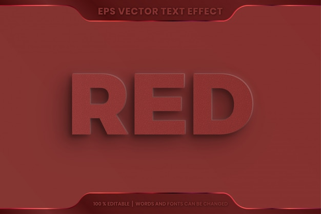 Text effect in 3d red words font styles theme editable embossed concept