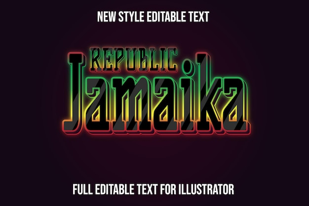 Text effect 3d republic jamaica color black and red,green,yellow gradient