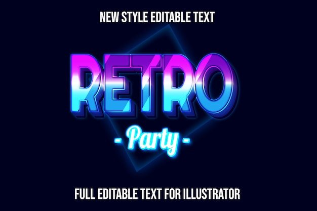 Text effect 3d retro party color blue and pink gradient