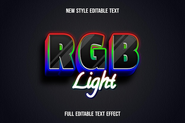 Text effect 3d rgb light color red green and blue gradient