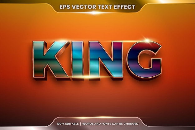 Text effect in 3d ring king words, font styles theme editable realistic metal gradient copper and bronze gold color combination with flare light concept