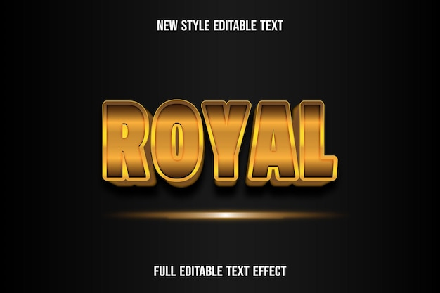 Text effect 3d royal color gold and black gradient