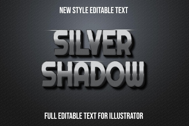 Text effect 3d silver shadow color silver and black gradient