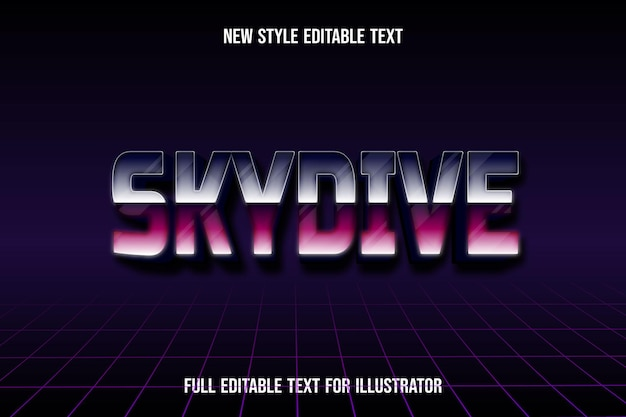 Text effect 3d skydive color purple and pink gradient