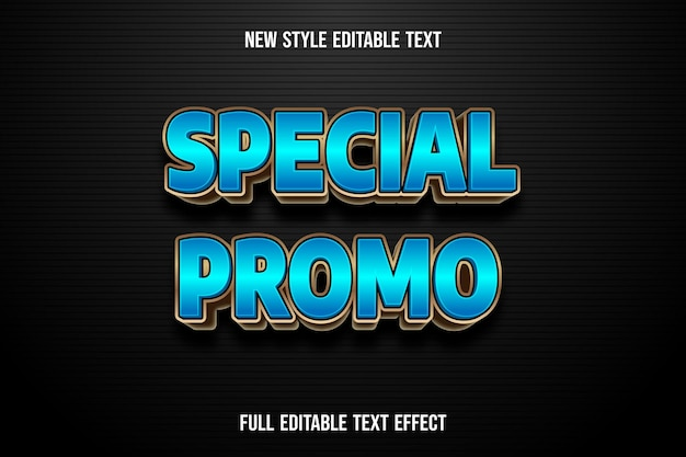 Text effect 3d special promo color blue and gold