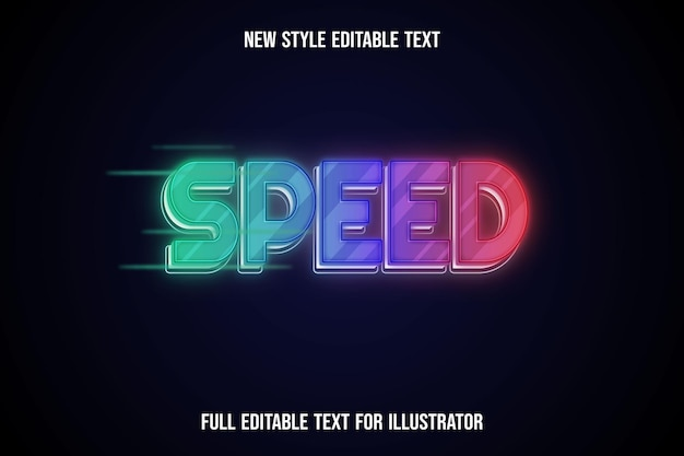 Text effect 3d speed color green and purple,orange gradient