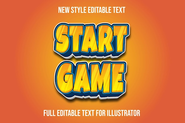 Text effect 3d start game in orange and blue gradient