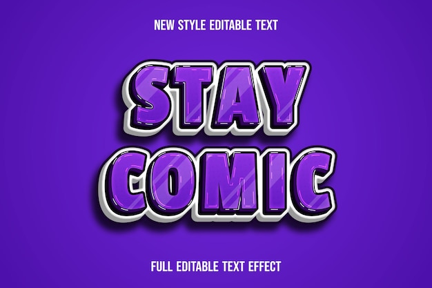 Text effect 3d stay comic color purple and white