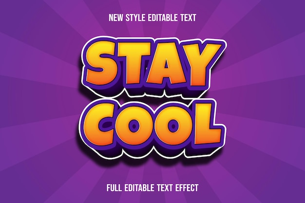 Text effect 3d stay cool color yellow and purple gradient