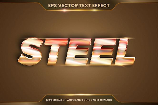 Effetto testo in parole in acciaio 3d, tema stili di carattere modificabile combinazione di colori oro sfumato metallico realistico con concetto di luce bagliore