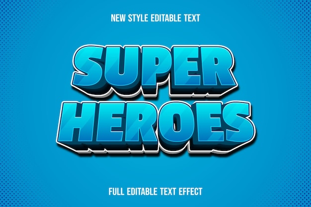 Text effect 3d super heroes color blue and white gradient