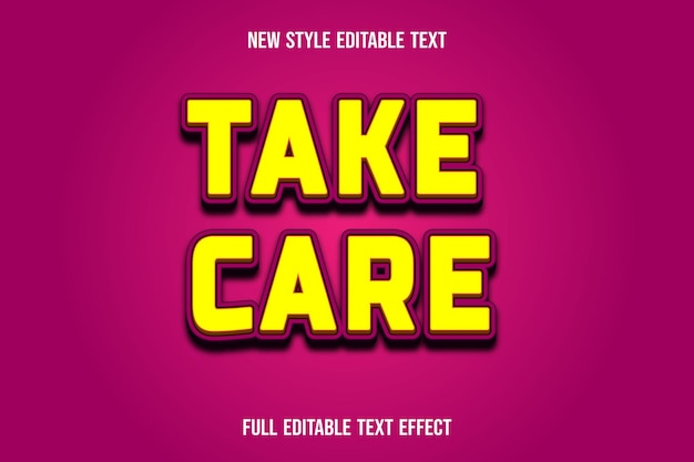 Text effect 3d take care color yellow and pink gradient
