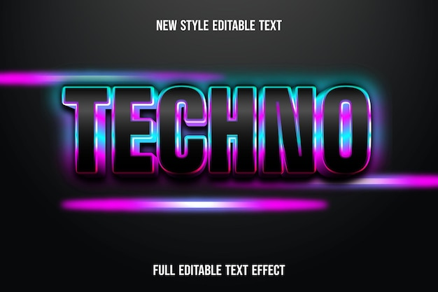 Text effect 3d techno color black and blue and pink